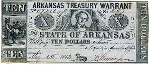 Arkansas, The State of Arkansas Treasury Warrant $10, May 25, 1863