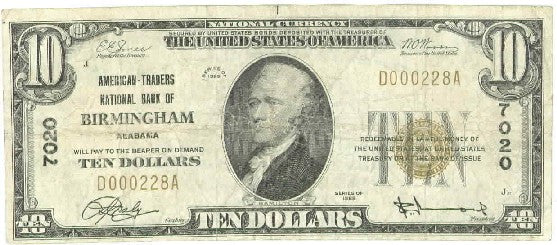 Alabama-Birmingham, American - Traders National Bank of Birmingham $10, 1929