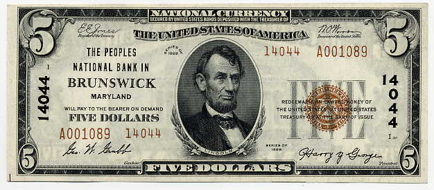 Maryland-Brunswick, The Peoples National Bank in Brunswick $5, 1929