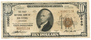 Arkansas-Huttig, The First National Bank of Huttig $10, 1929