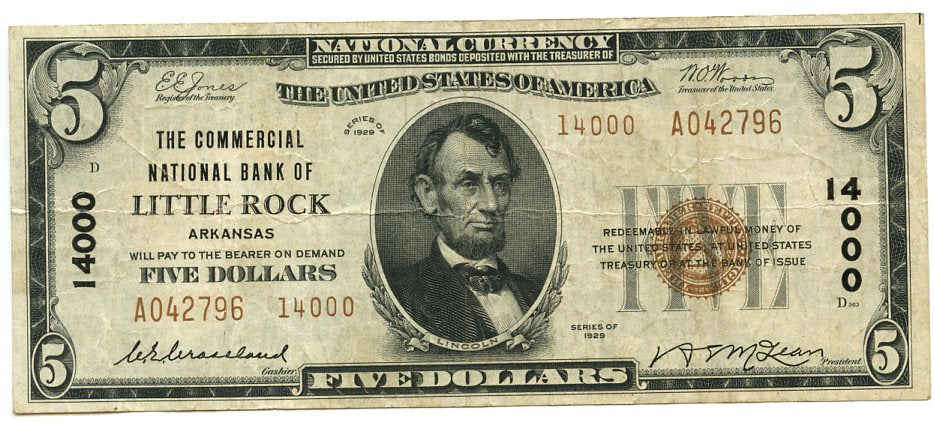 Arkansas-Little Rock, The Commercial National Bank of Little Rock, $5, 1929