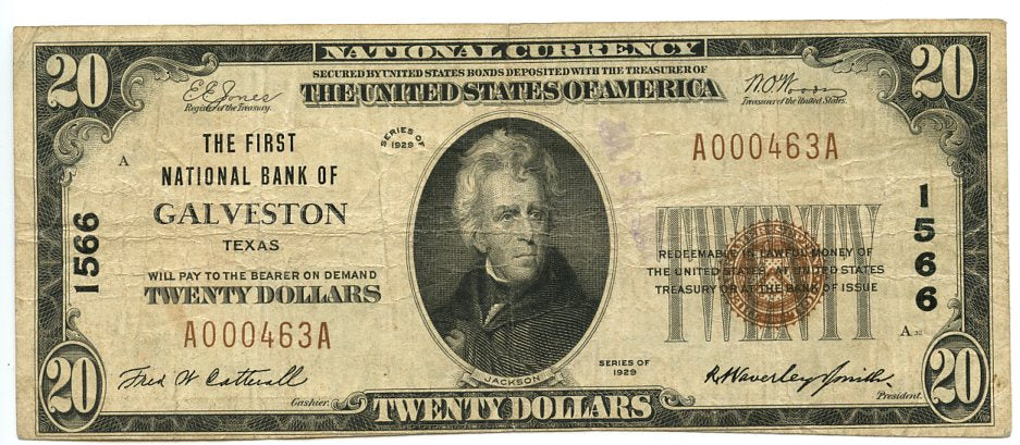 Texas-Galveston, The First National Bank of Galveston, $20, 1929