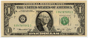 U.S. Federal Reserve Note $1, 1974, FR. 1908-G