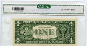 U.S. Federal Reserve Note $1, 1981,  Error - Offset