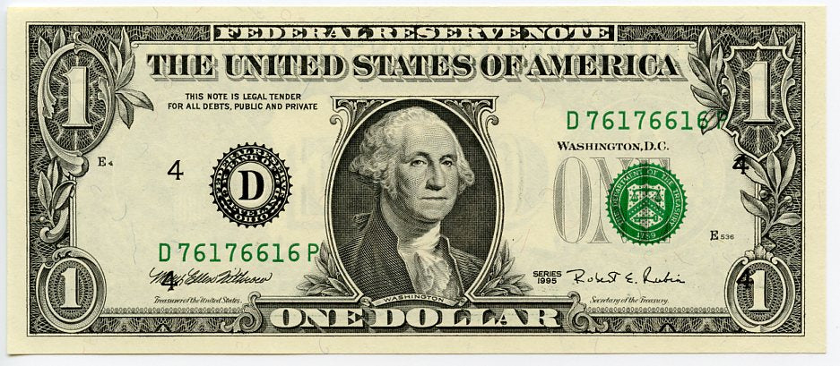 U.S. Federal Reserve Note $1, 1995, FR. 1922-D