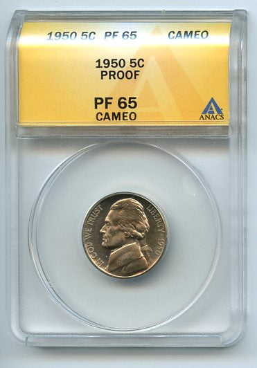 1950 5 Cents, Proof, Anacs PF65 Cameo