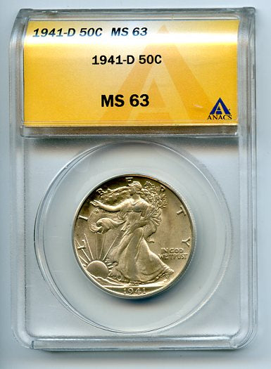 1941-D 50 Cents, Anacs MS63