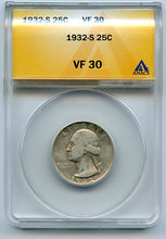 1932-S 25 Cents, Anacs VF30