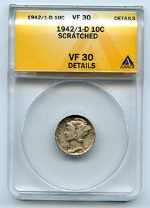 United States 1942/1-D 10 Cents, Anacs VF30 Details