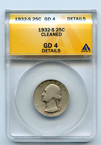 1932-S 25 Cents, Anacs GD4 Details