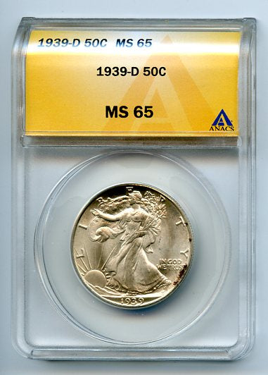 1939-D 50 Cent, Anacs MS65