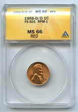 United States Error 1956 D/D 1 Cent, Anacs MS66 Red