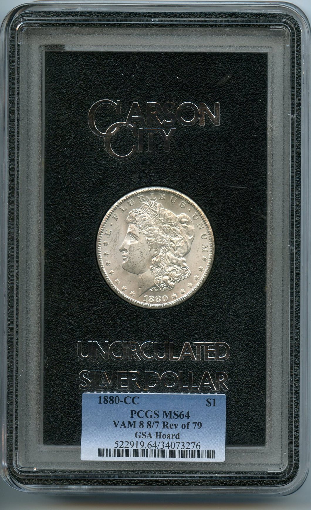 1880-CC $1, PCGS MS64, VAM 8, 8/7 Rev of 79