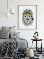 the king lion watercolour artwork