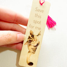 artbrush wooden bookmark 'Save This Spot For Me' (sugar glider)