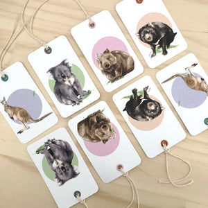 aussie animals gift tag 8 pack.