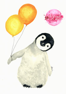 artbrush 'Party Penguin' print