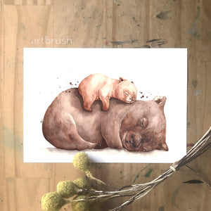 artbrush 'Mother's Day 2021' print (wombat mother and baby)