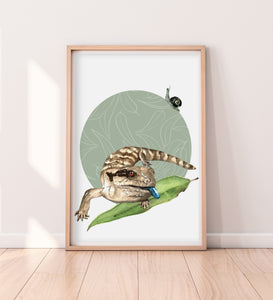 artbrush Oz Series 'BLUE TONGUE LIZARD AND OTWAY BLACK SNAIL' print