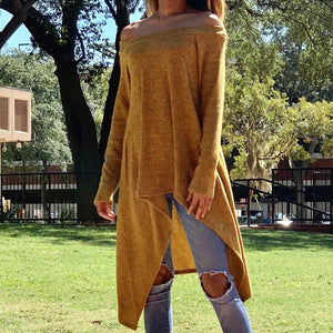 Long Sleeve Off The Shoulder Sweater