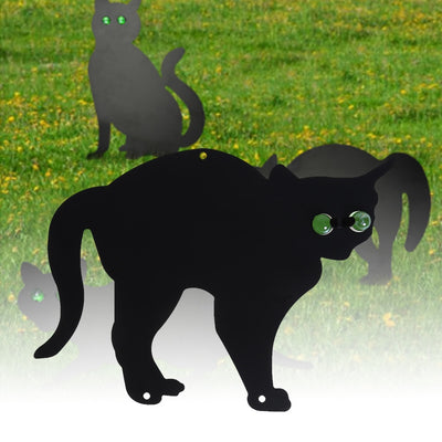 3 pc Metal Scare Cats to chase out Pesky Critters