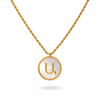 White Mother of Pearl Armenian Initial Necklace