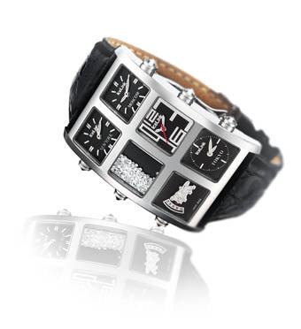 18K White Gold 6 Time Zone Watch - IceLink