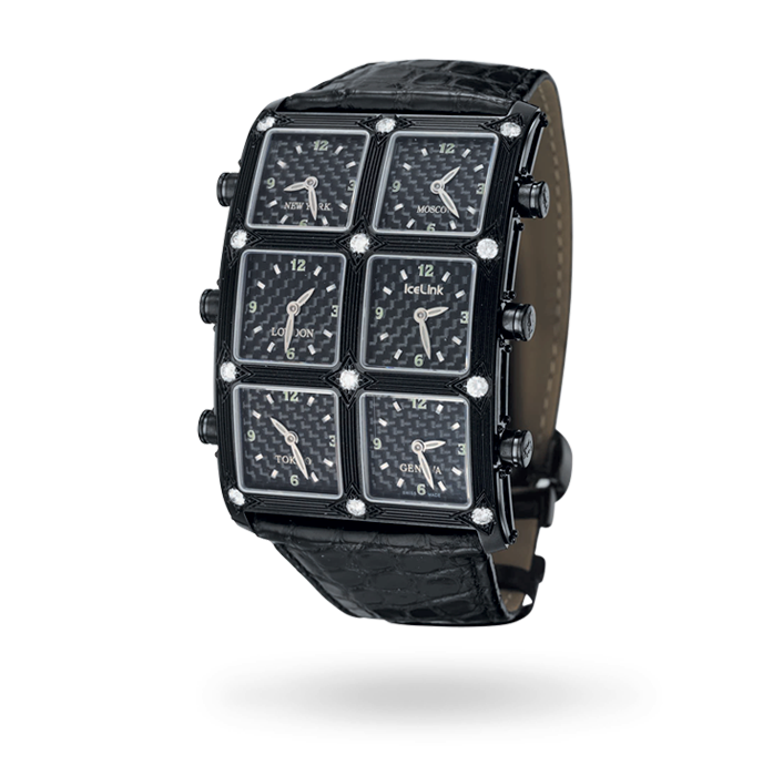 AOKI 1.5CT Carbon Fiber 1.5ct 6 Time Zone Watch