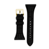 "Women's ""Siligator"" Straps 34MM Black with Gold buckle"