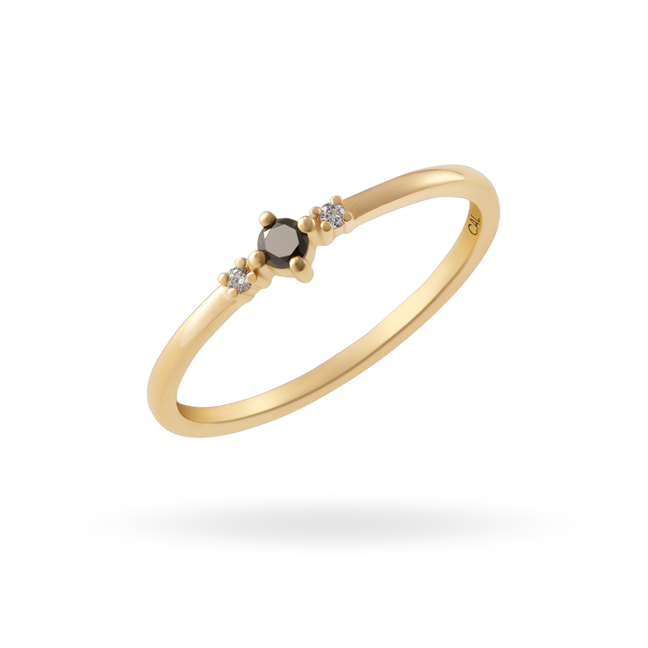 14K Gold Black Diamond Ring