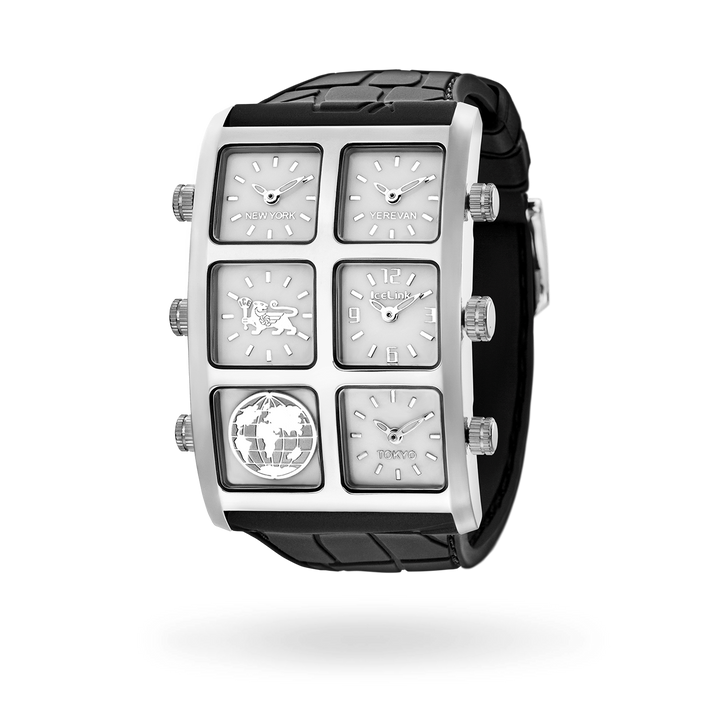 Men's Zhu 60mm Multi-Time Zone Silicone Watch