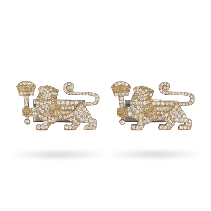 18K Rose Gold with Diamonds Lioness Cuff Links