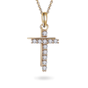 14K Gold Double Cross Pendant with chain