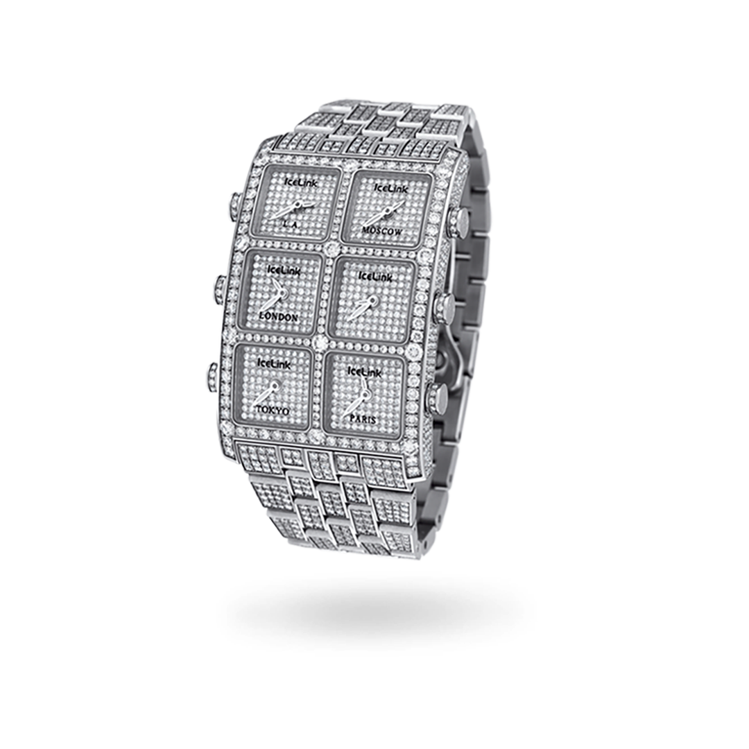 Lucienne 6 Time Zone Diamond Watch - IceLink