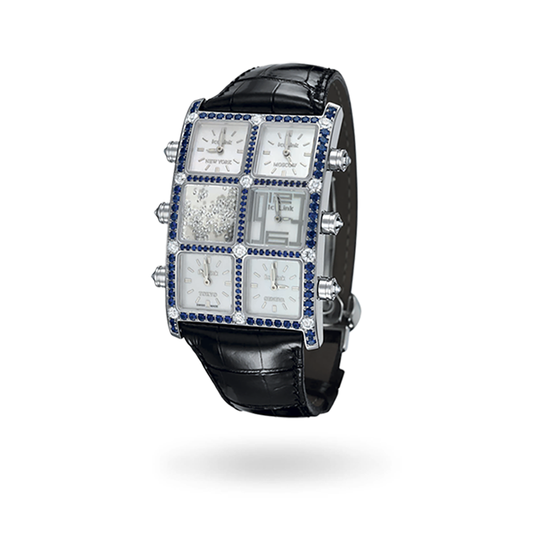 Blue Sapphire Floating Diamond Watch