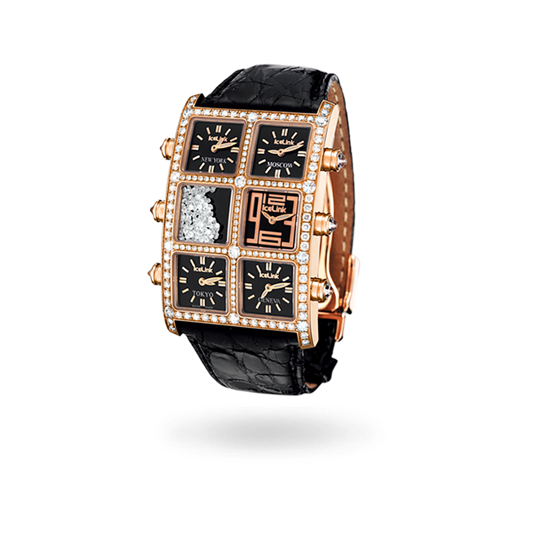 Face of Carmela 18K Gold 5 Time Zone Watch - IceLink