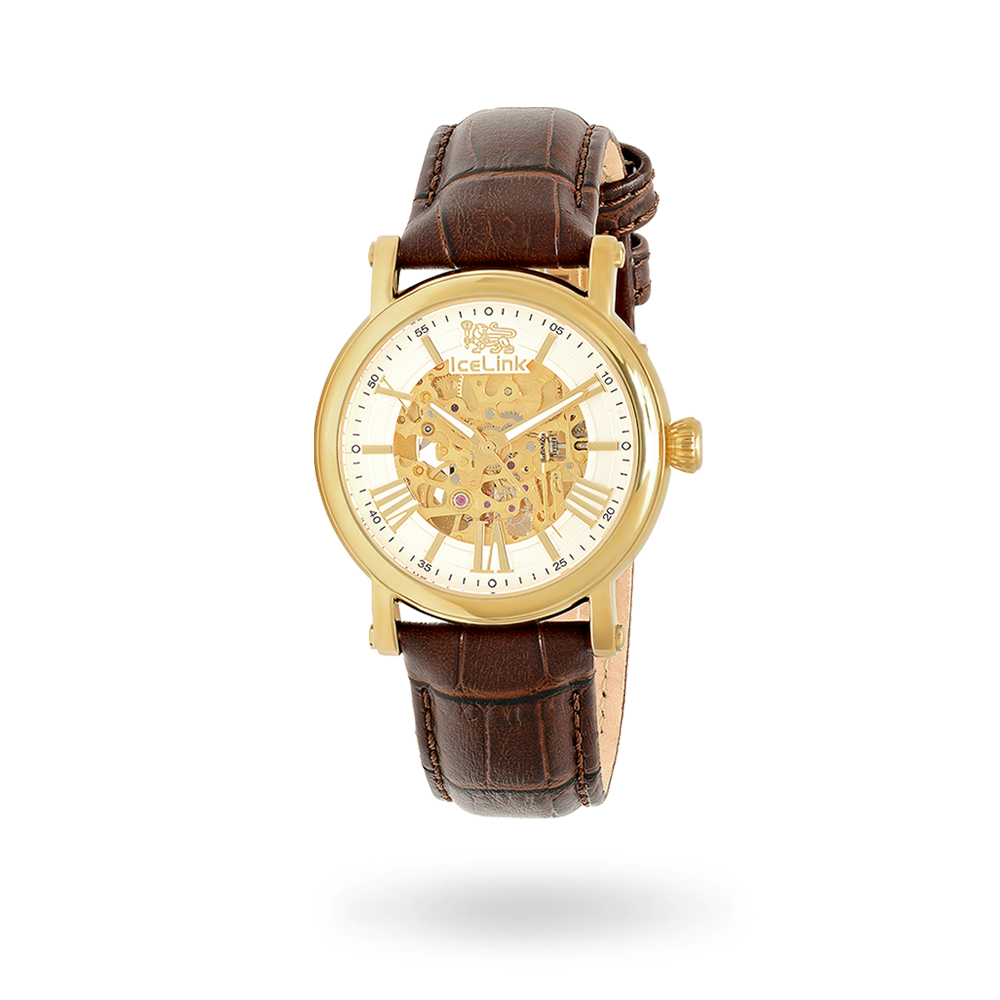 VAHAGN Watch with brown leather band