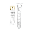 "Women's ""Siligator"" Straps 34MM White with Gold buckle"