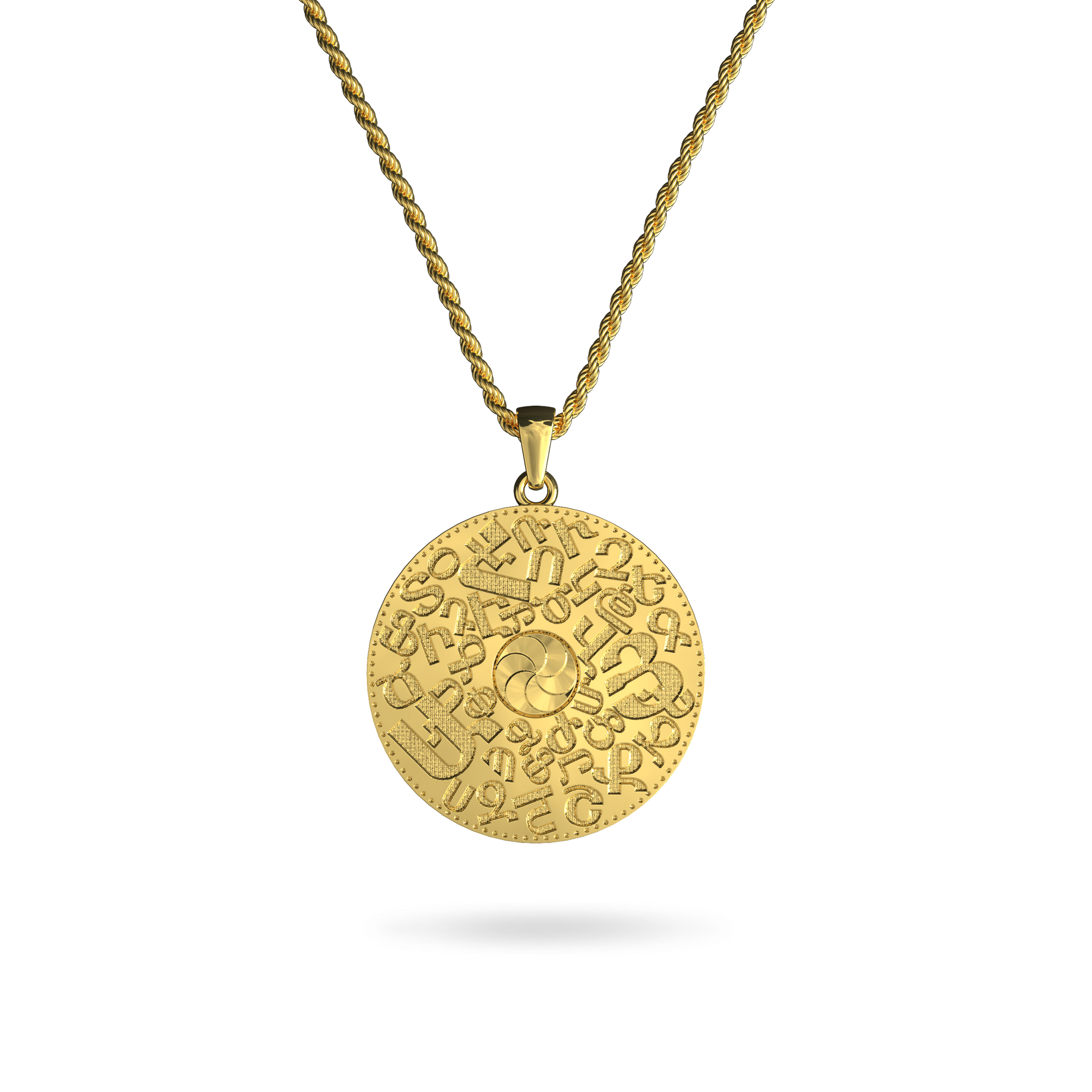 14K Gold Plated Armenian Alphabet Pendant