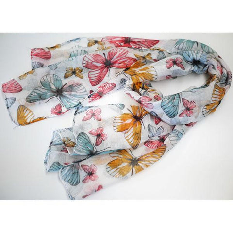 White Butterfly Print Scarf
