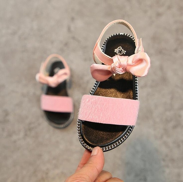 Girls Bow Knot Leopard Print Sandals