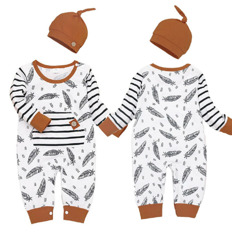 Cute 2 Piece Baby's Feathered Long Sleeve Romper + Hat - Little Swan Boutique