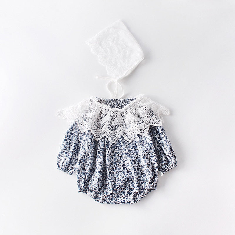 Baby Girls Floral Romper With Removable Lace Collar - Little Swan Boutique