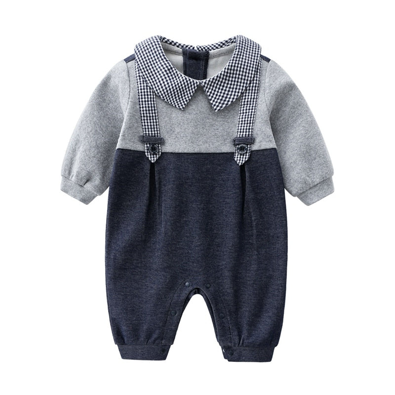 Baby Boy Plaid Collar Gentleman Jumpsuit - Little Swan Boutique