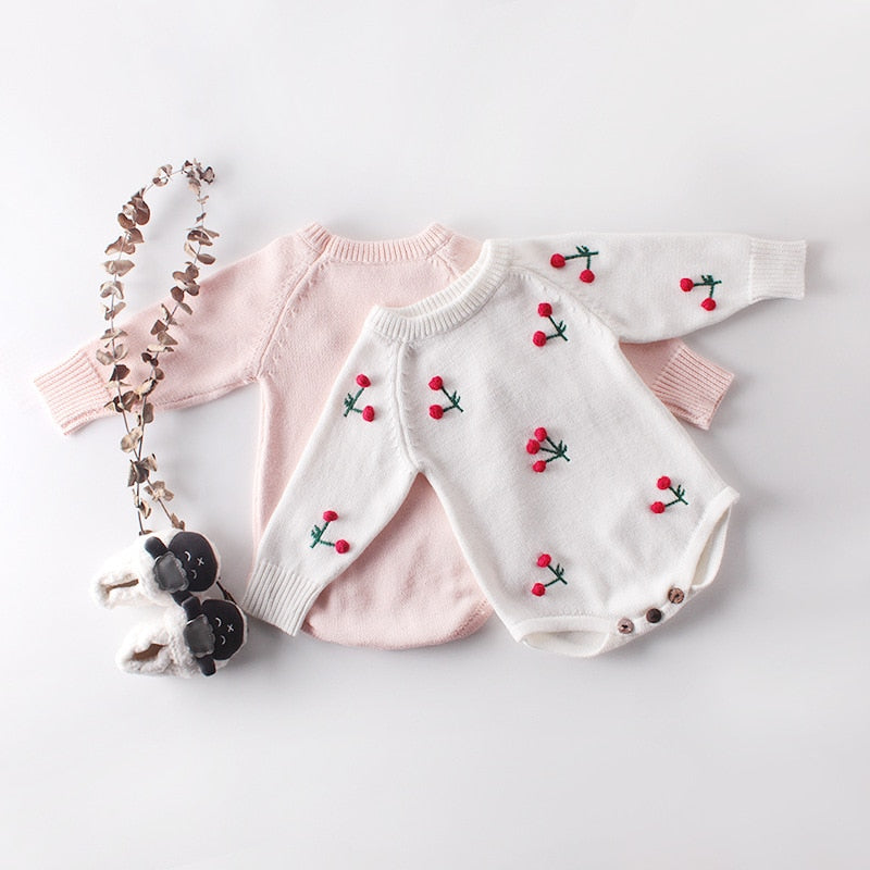 Baby Girls Knitted Cherry Bodysuit - Little Swan Boutique