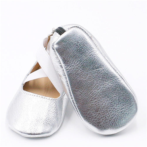 Baby Girls Genuine Leather Ballet Flats - Little Swan Boutique