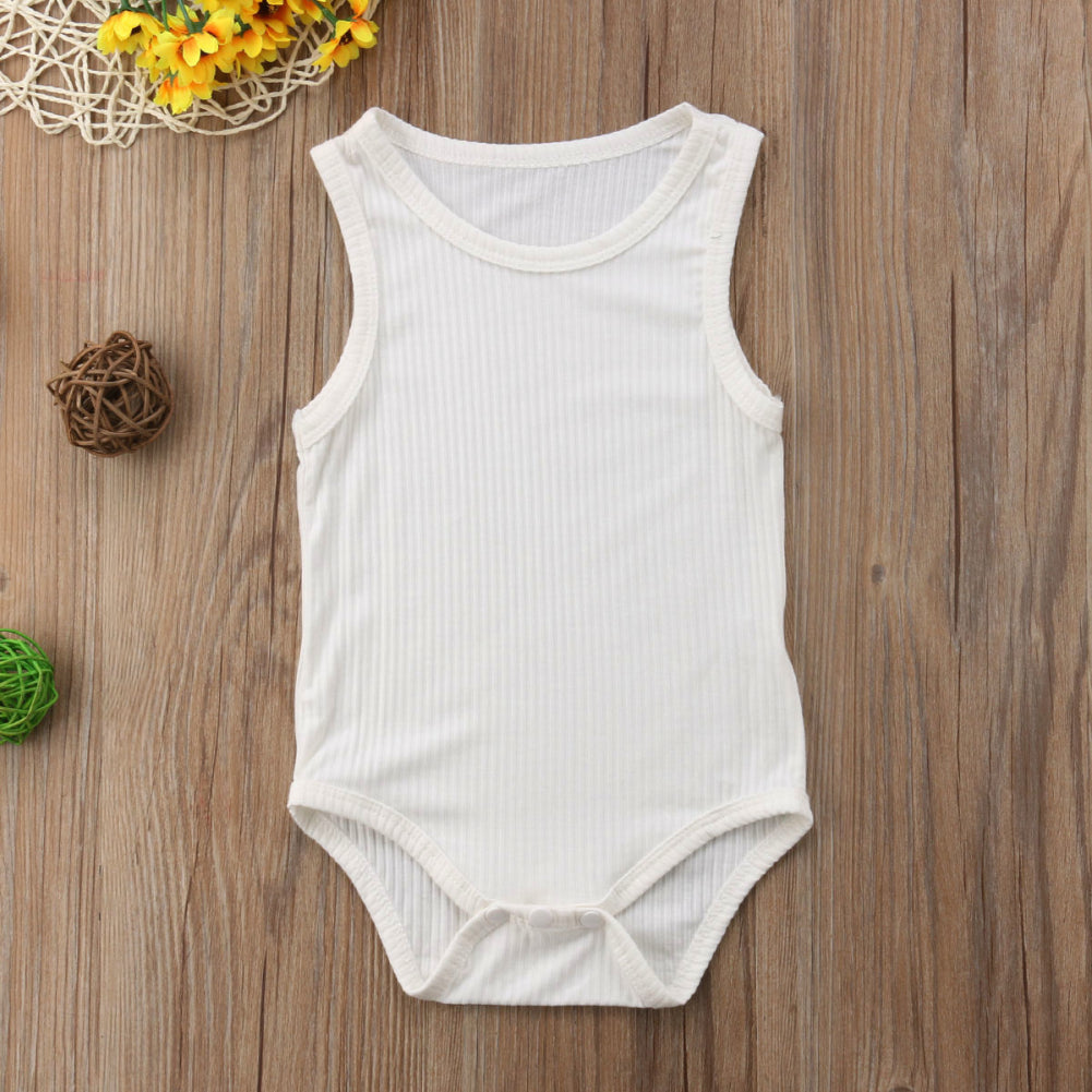 Baby Girls Solid Sleeveless Romper - Little Swan Boutique