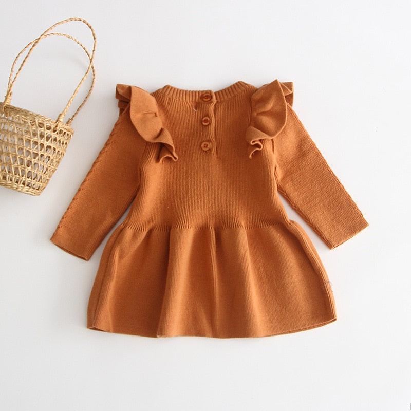Beautiful Girls Knitted Autumn Dress - Little Swan Boutique