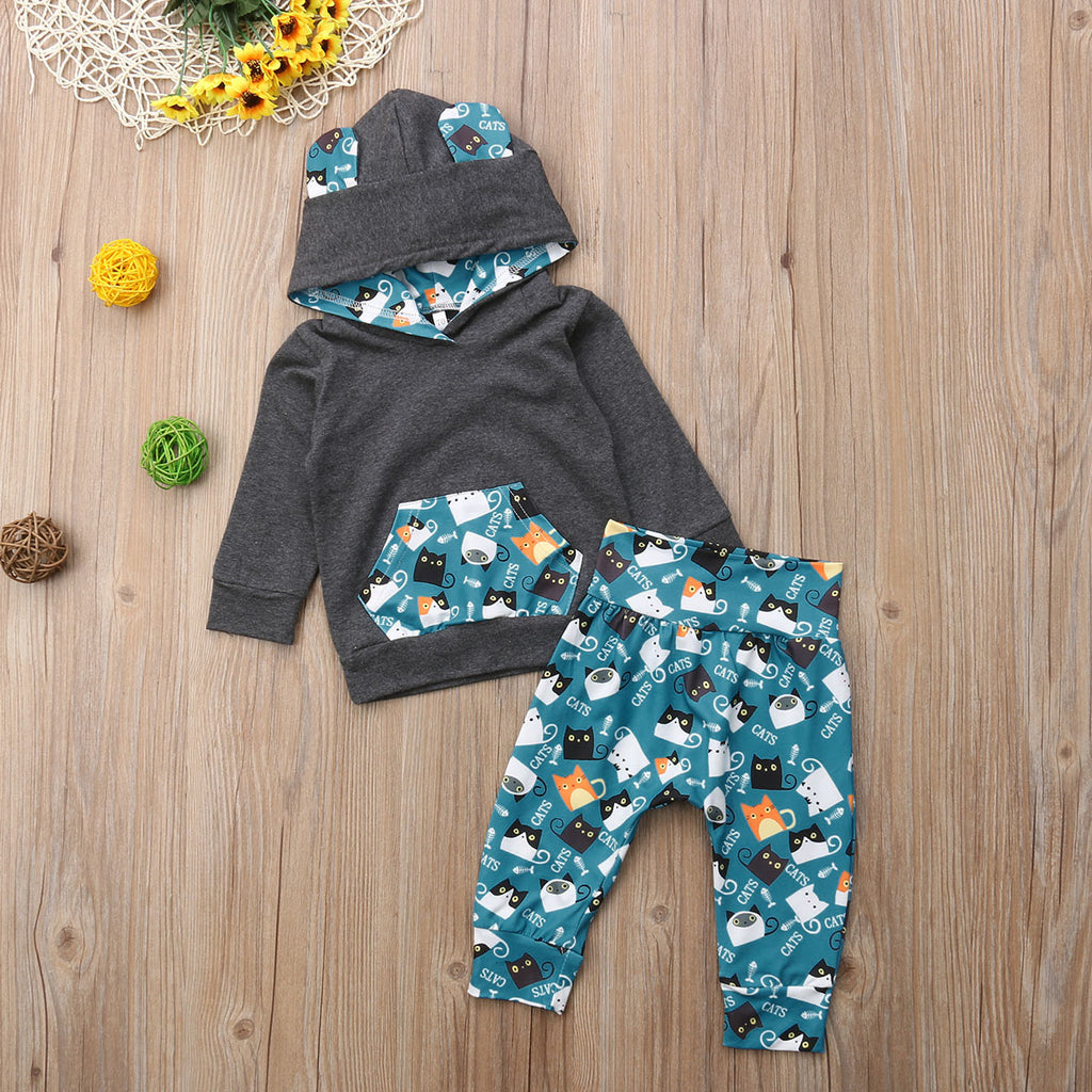 Baby Boys Cat Themed Hoodie + Pants