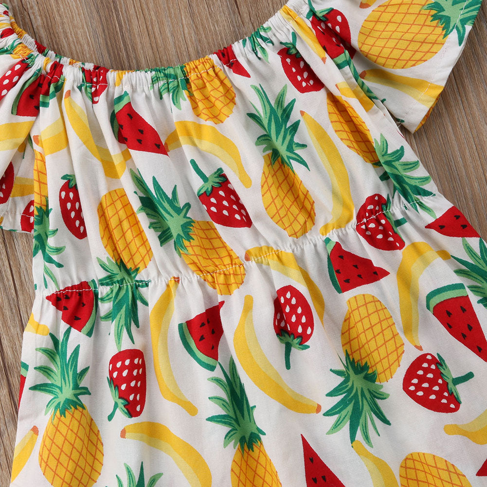 Baby Girls Off The Shoulder Pineapple Print Short Sleeve Romper + Headband - Little Swan Boutique